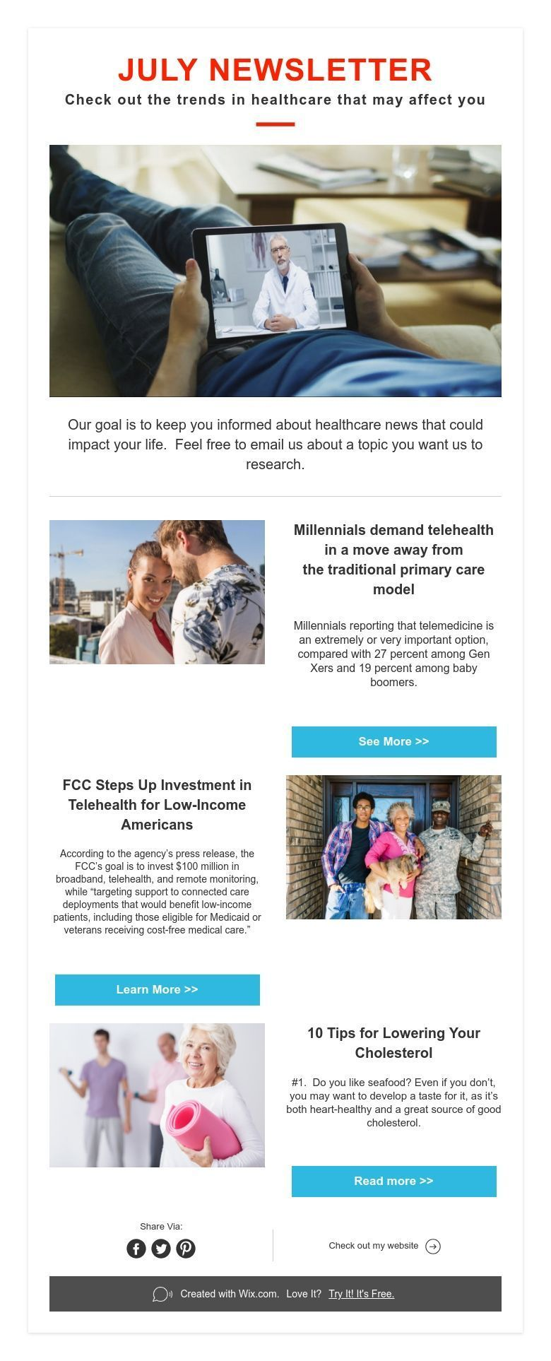 JULY NEWSLETTER Check out the trends in healthcare that
