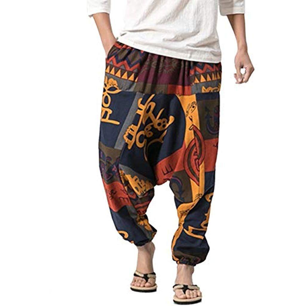 metà fuori 8736a 7bd45 besbomig Pantaloni alla Turca Harem Uomo Baggy Casual Hippy ...