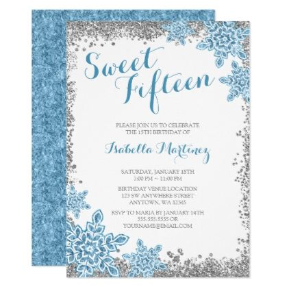 Sweet Glam Winter Wonderland Silver Blue Invite Winter Gifts - Winter party invitation template free