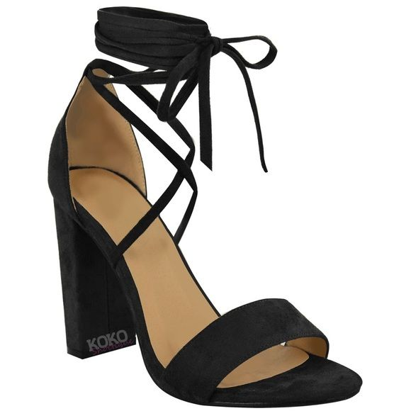 Black Block Heel Tie-up Sandals faux suede block heel sandals with a tie up lace at ankle, originally from the UK, never worn, they were a little big on me, I still have the box, very comfortable. Shoes Heels