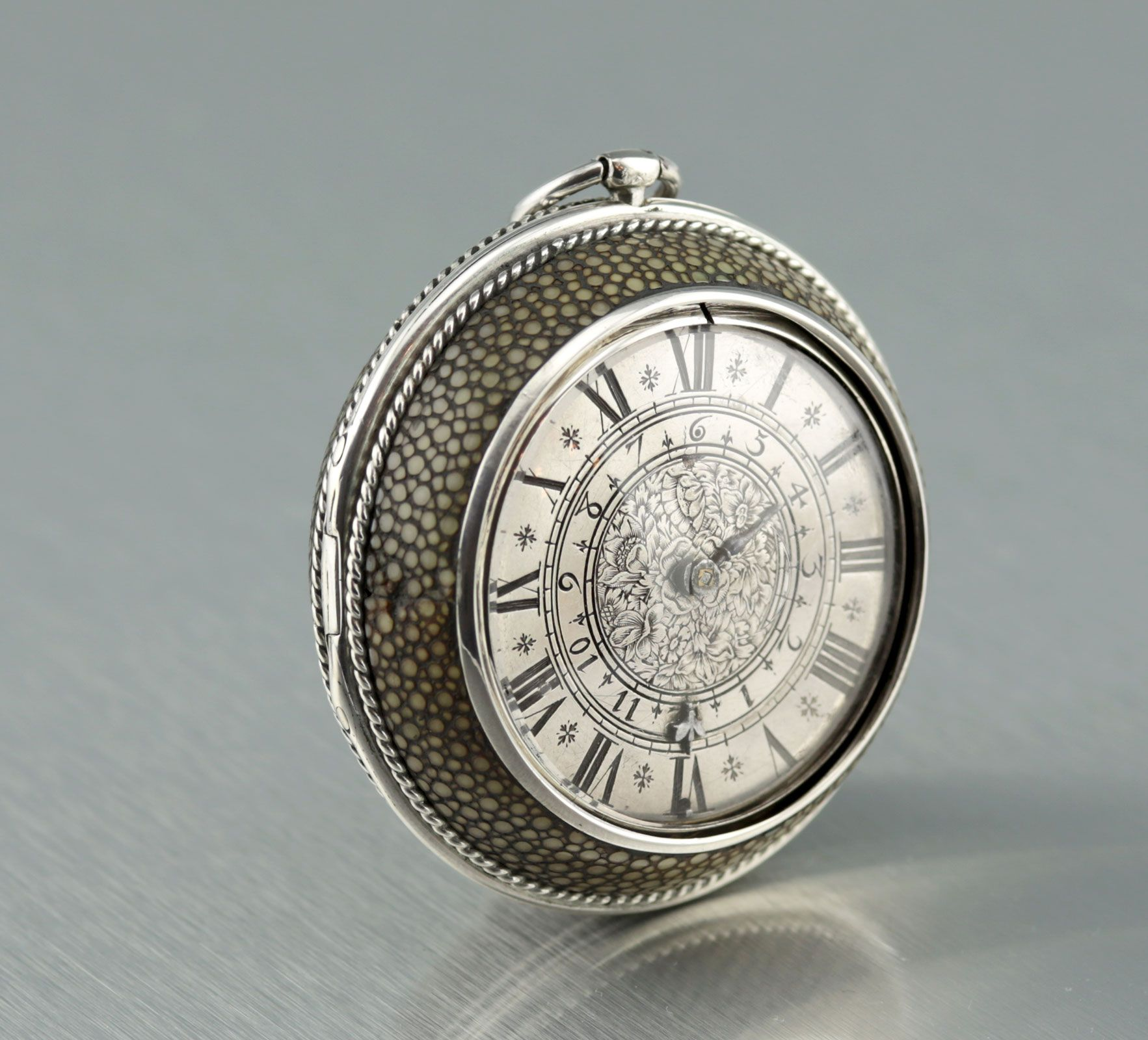 Very early French pocket watch with alarm. The case is fine silver with outer case made of shagreen. Made by Jean Hubert the Younger - Rouen, France c1680 (carsten-antik)