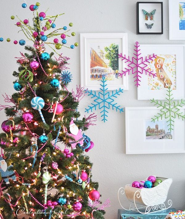 candy colored christmas tree - Candy Ornaments For Christmas Tree