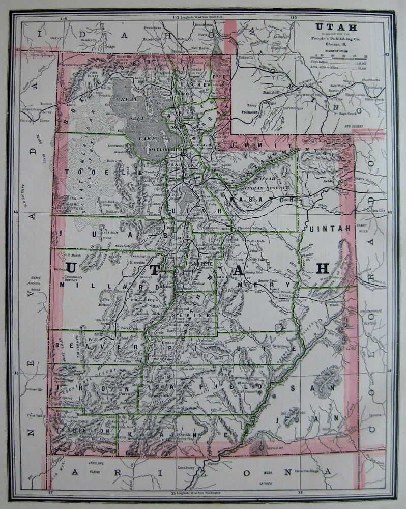 Details About  Antique UTAH Map Collectible Vintage S Map - Map of us states in 1800s
