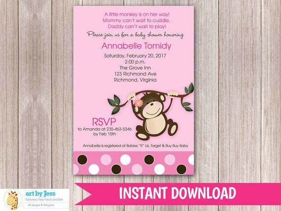 Baby Shower Girl Monkey Invitations ~ Girl monkey baby shower invitation or birthday all you need is