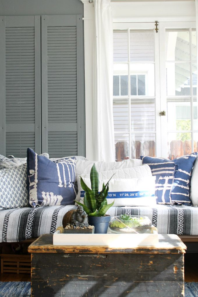 Coastal Bohemian Farmhouse Style Daybed In A Sunroom Home Office