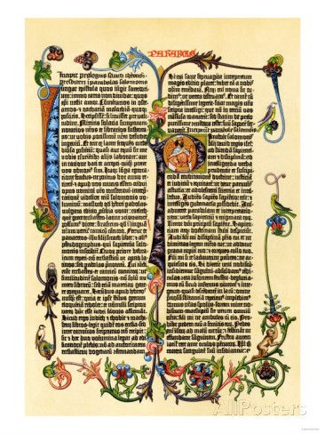 Page of Gutenberg's 42-Line Bible, Printed in the 1450s, Probably the First Use of Movable Type Giclée-Druck