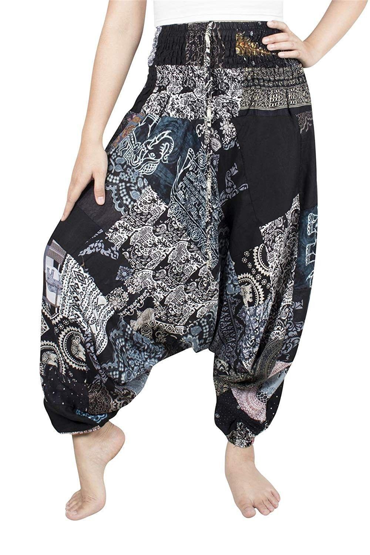 Unisex Patchwork Hippie Pants Harem Casual Baggy Yoga Colorful Trousers - Black - CM18E7OW2C7 -  Uni...