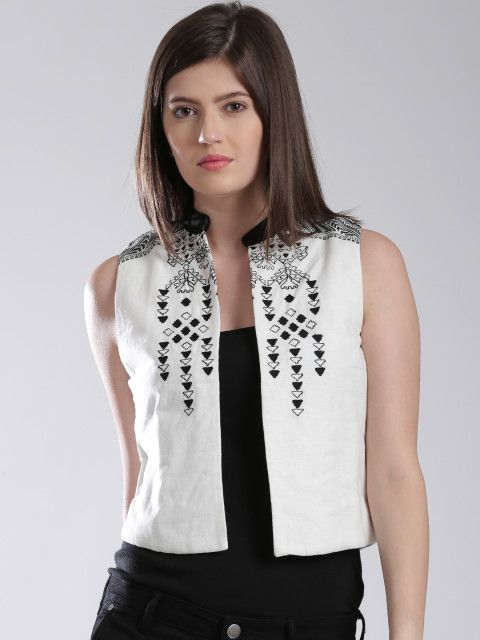 a2a8a9d26e394f Buy W Off White Embroidered Ethnic Jacket - Jackets for Women ...