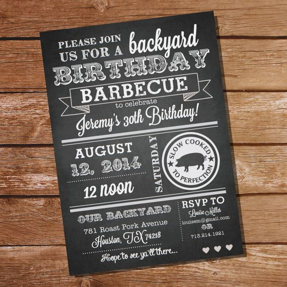 Chalkboard Birthday BBQ Invitation Instantly Downloadable