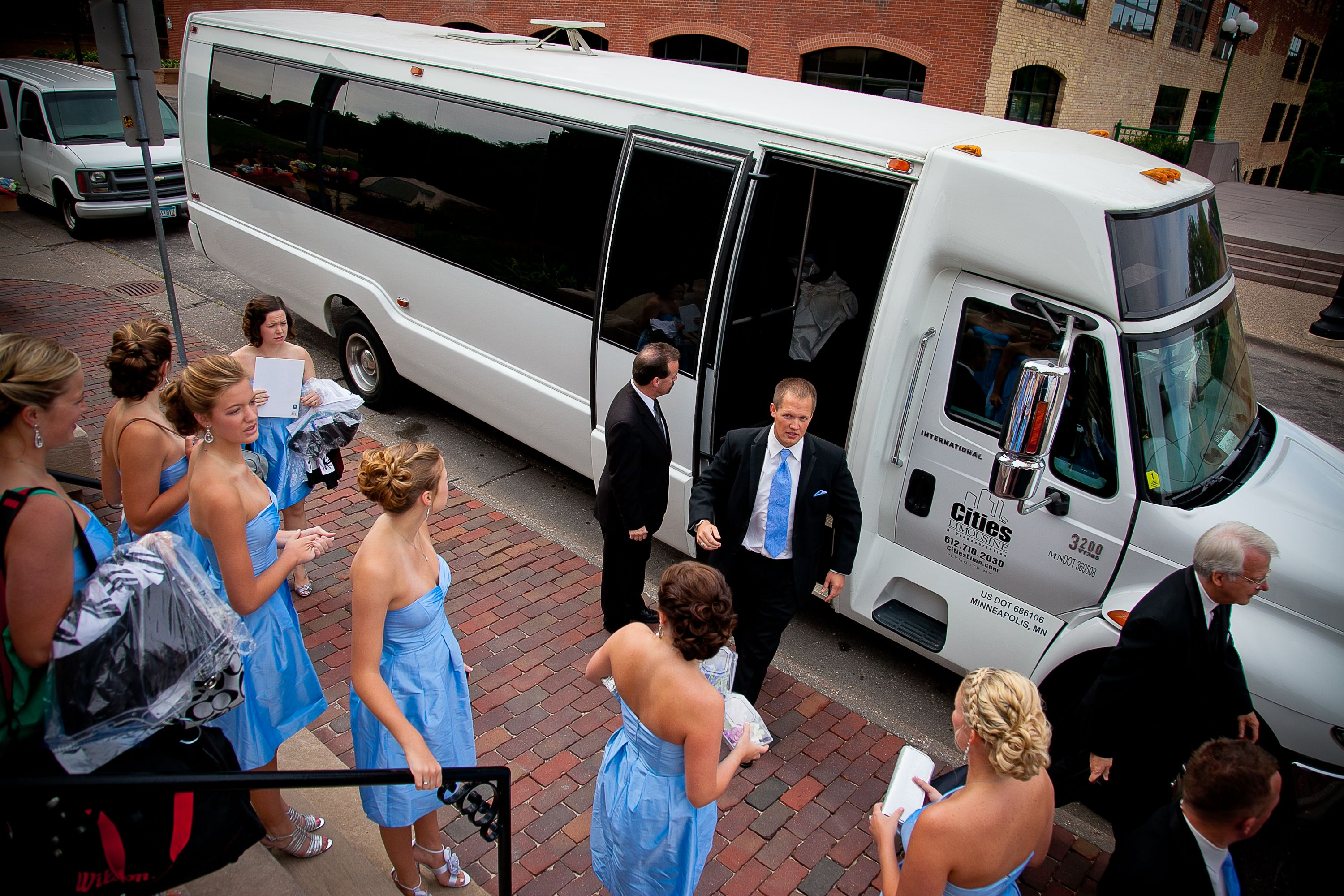For A Wedding Party As Big As Ours A Limo Bus Was A Necessity Limo Bus Wedding Transportation Wedding Limo