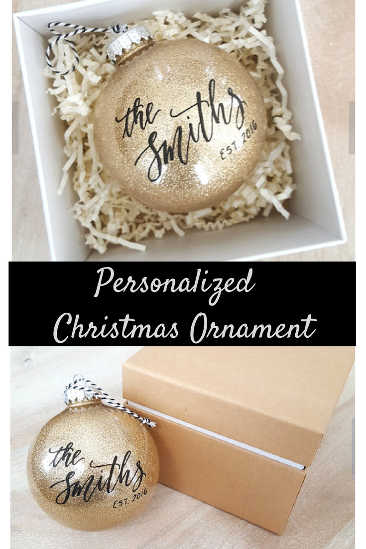gorgeous personalized christmas ornament perfect gift for a newlywed couple etsy