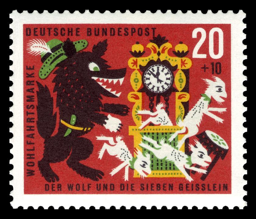 Deutsche Bundespost 1963 Brüder Grimm Der Wolf und die