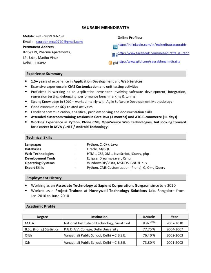 Resume Format 1 Year Experienced Software Engineer Engineer