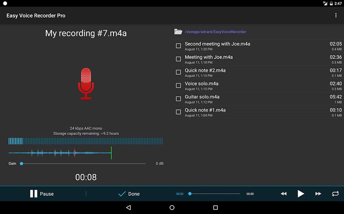 تحميل برنامج تسجيل الصوت Easy Voice Recorder للاندرويد