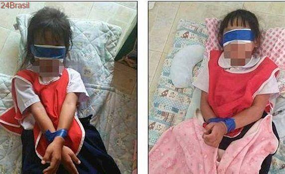 Meninas de cinco anos são vendadas e têm as mãos atadas na Tailândia como punição por irritar professores