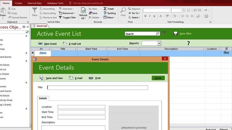 Microsoft Access Event List Management Templates Database - Management List Sample