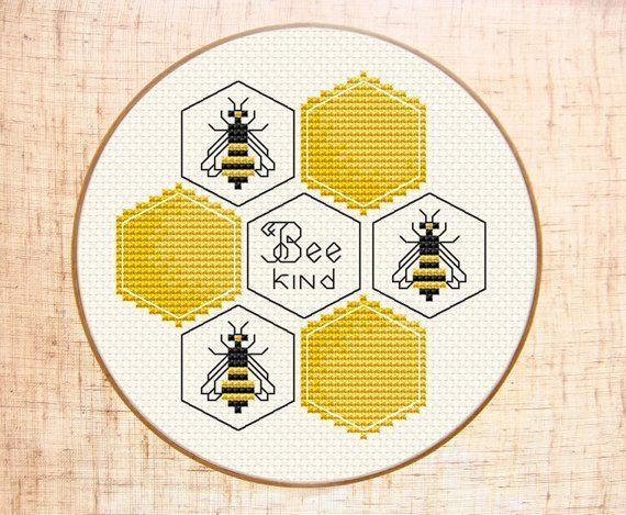 Photo of Bee kind Cross stitch pattern Modern cross stitch Bumble bee cross stitch Honey cross stitch Honeycomb Easy cross stitch chart Digital PDF