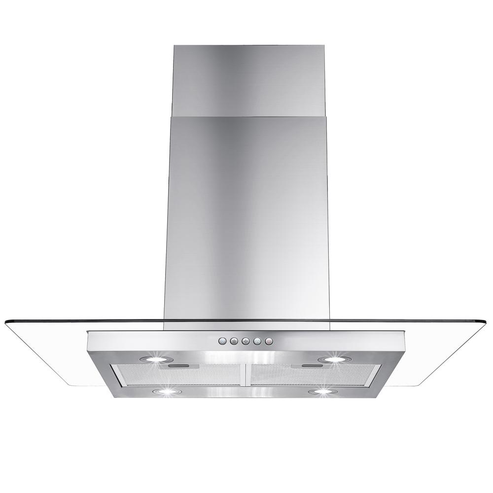 Akdy 36 In Convertible Kitchen Island Mount Range Hood In Stainless Steel With Flat Tempered Glass Rh0319 The Home Depot Range Hood Kitchen Island Range Hood Kitchen Island Range