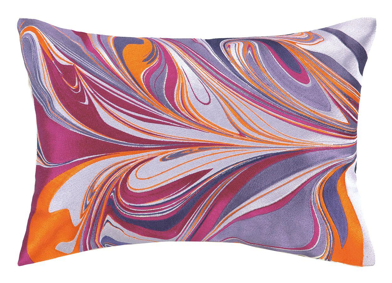 DL Rhein Marbled Madness Pillow, Fuchsia and Orange