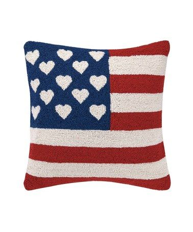 Look what I found on #zulily! Patriotic USA Flag Hook Throw Pillow #zulilyfinds