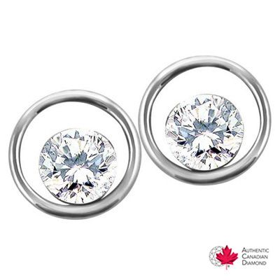 Certified Canadian Diamond Solitaire Earrings In 14k White Gold
