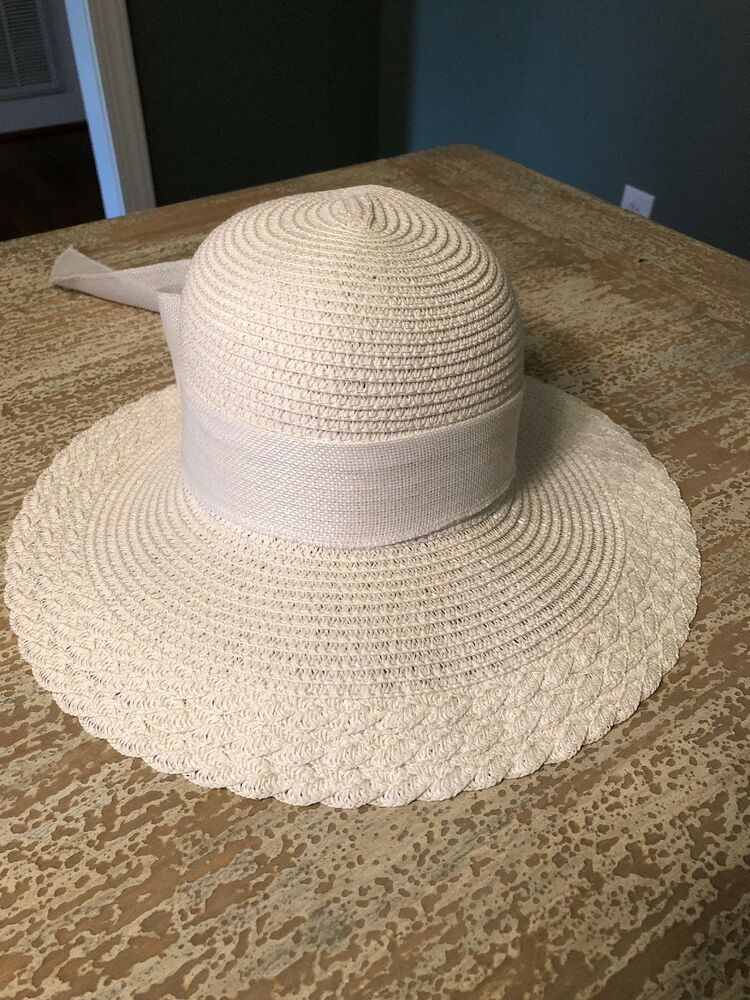 Nicole Marciano White Wide Brim Straw Summer Hat  fashion  clothing  shoes   accessories dba3d990c02