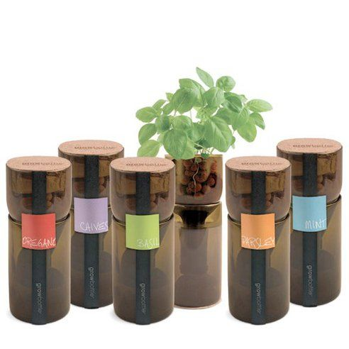 GrowBottle Upcycles Wine Bottles Into Planters for Hydrogardens.  Priced at $35 each. Maybe a DIY?!