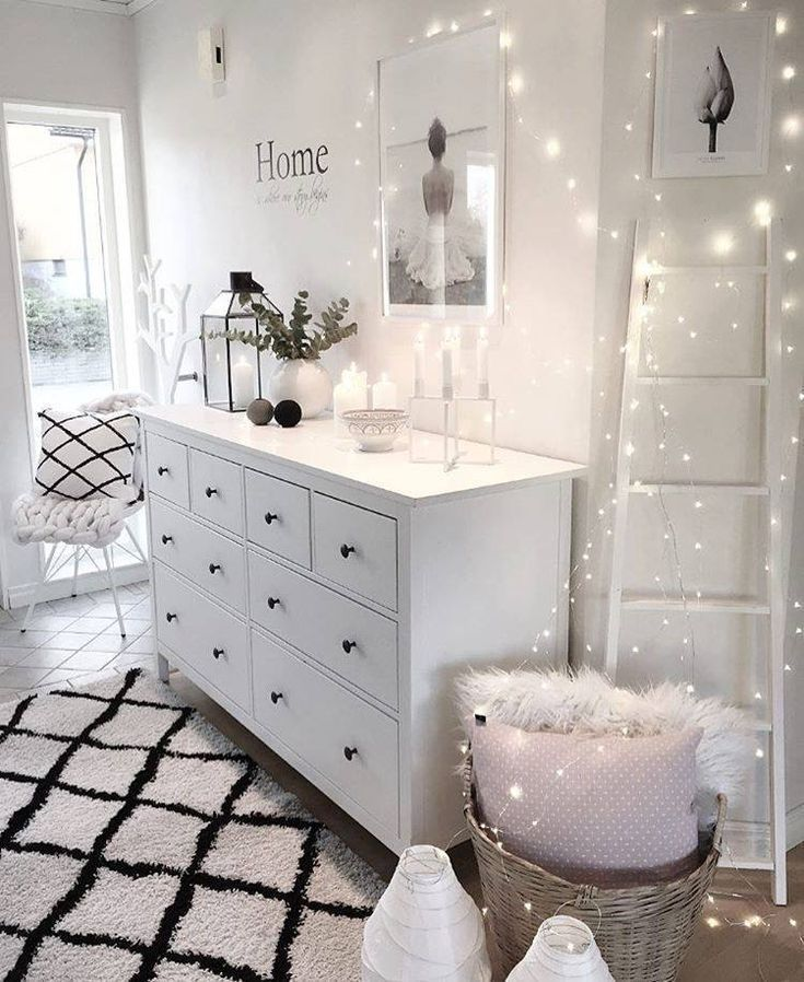 Weißes Schlafzimmer und Lichter – Dekoration Ideen