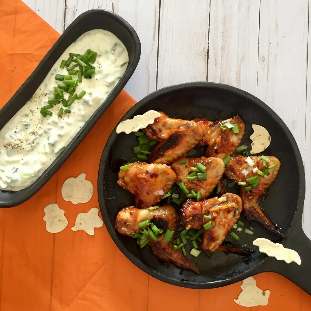 Happy and Healthy Halloween Treats for Kids.    Witch's Pot with Bat Wings (Sticky Wings with a Yoghurt Dip)    http://orangekitchens.net/2017/10/24/halloweenmenuforchildren/
