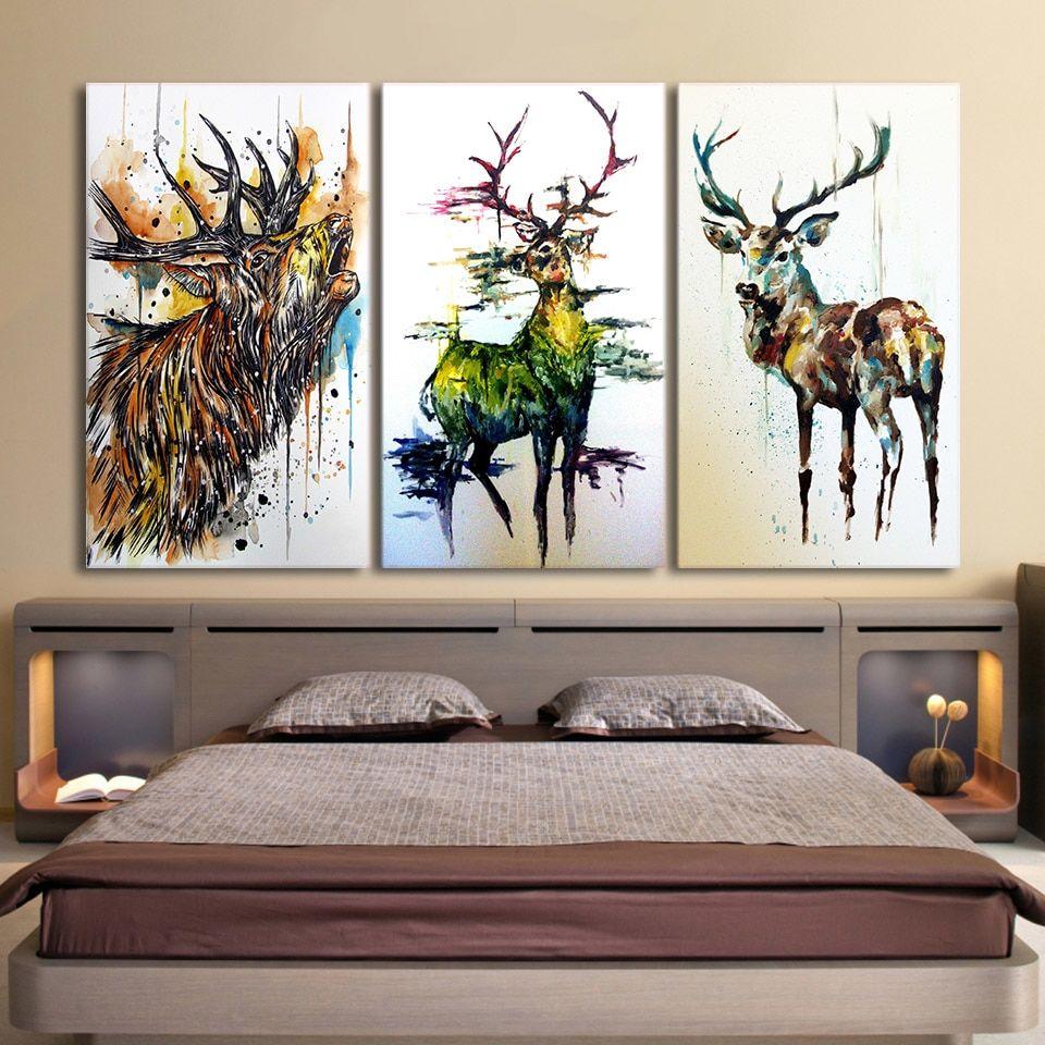 3 Piece Elk Graffiti Deer Canvas Painting Canvas Deer Wall Art Canvas Wall Decor Wall Art Living Room