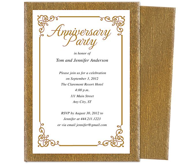 Wedding Anniversary Party Templates Laurel Invitation Template Accented With Flourish Corner Framing