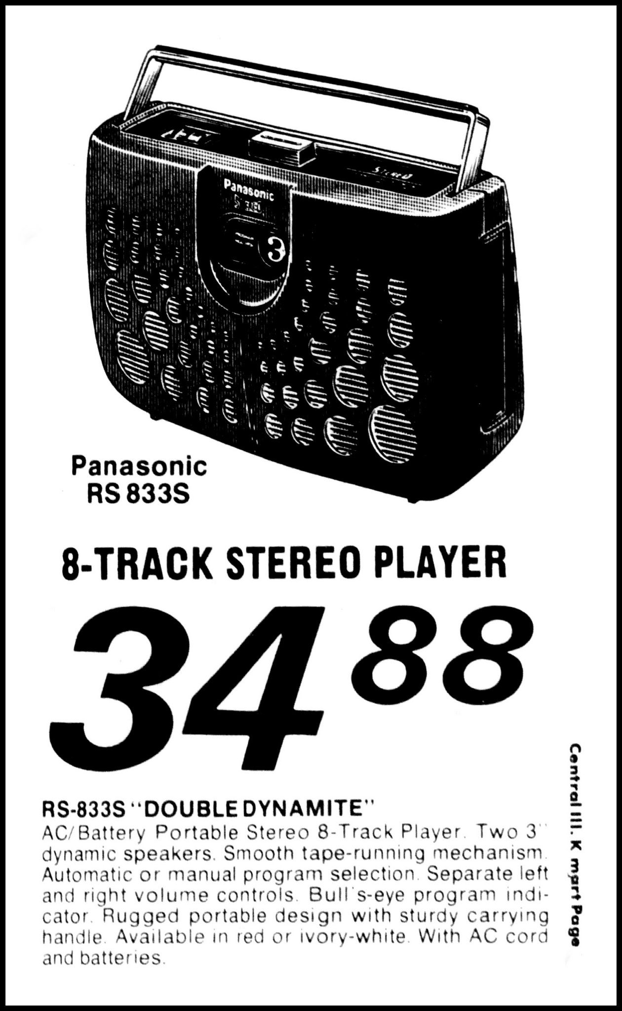 vintage advertising for the panasonic model rs 833s 8 track stereo Rap Audio Cassette Tapes vintage advertising for the panasonic model rs 833s 8 track stereo player in the bloomington illinois pantagraph newspaper april 27 1978 vintage tape