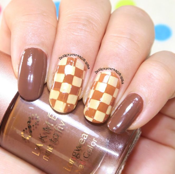 Chocolate Nail Art Golden Color Brown And Gold