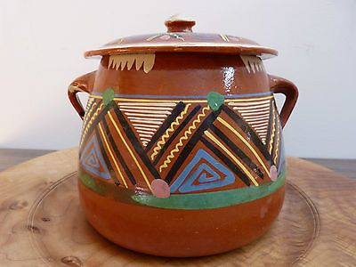 Vintage Mexican Folk Art Painted Red Clay Lidded Bean Pot
