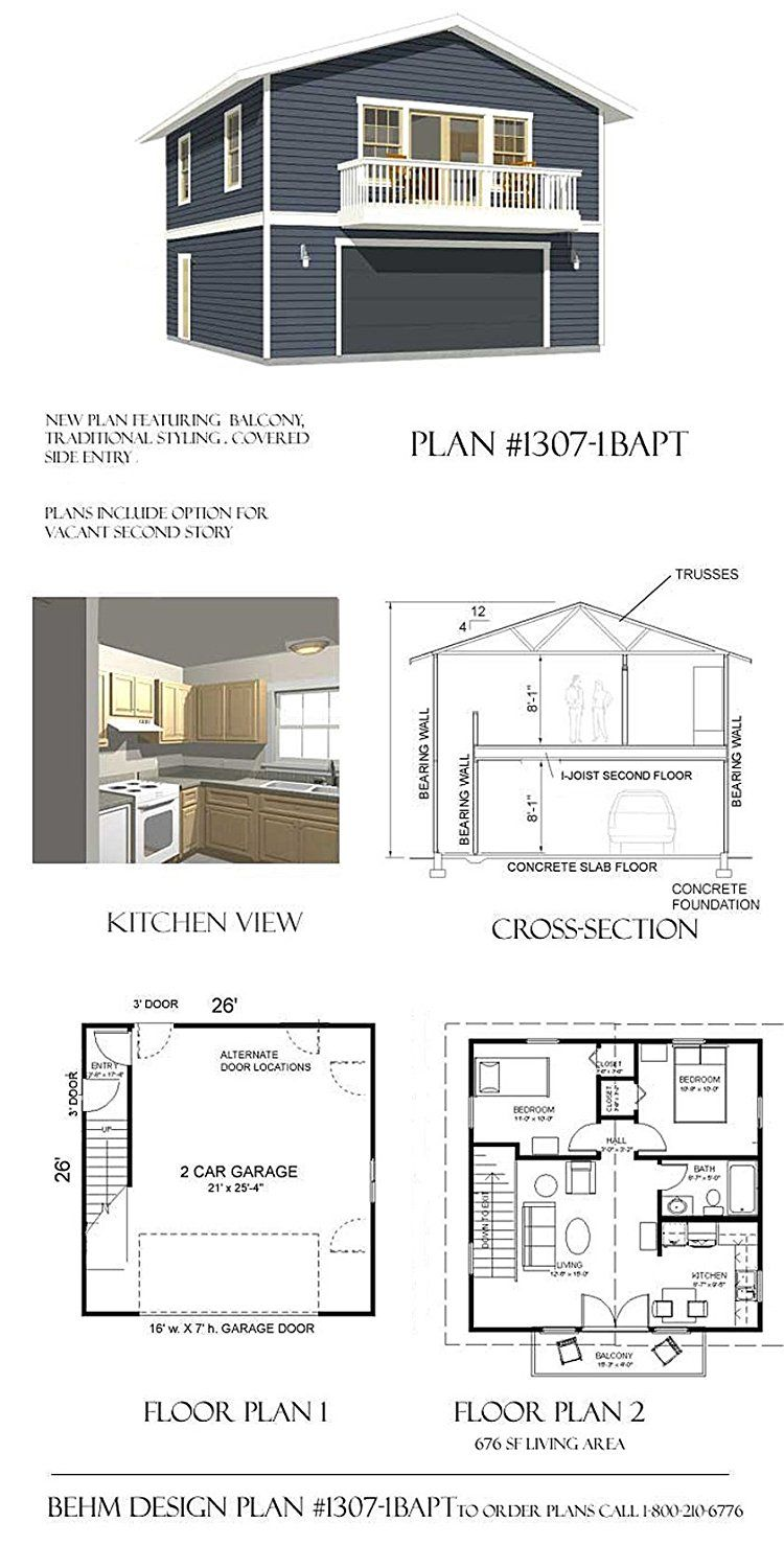 Garage Plans 2 Car With Full Second Story 1307 1bapt 26 39 X 26 39 Two Car By Behm Design House Plans Apartment Plans Garage House Plans