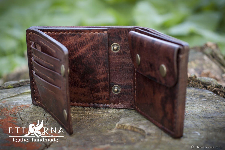 a468b8069579 Купить Портмоне кошелек мужской ручной работы - коричневый, кошелек  мужской, кошелек из кожи