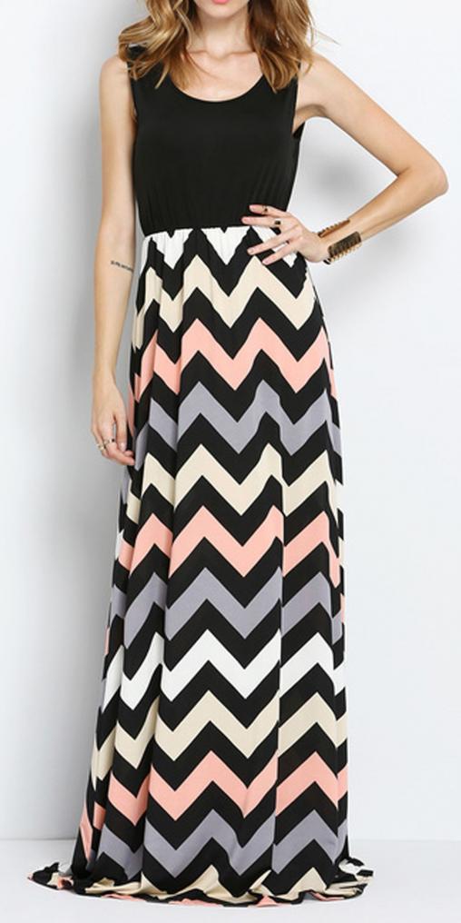 Colorful Sleeveless Zig-zag Print Maxi Dress #hawaii #hawaii #outfits