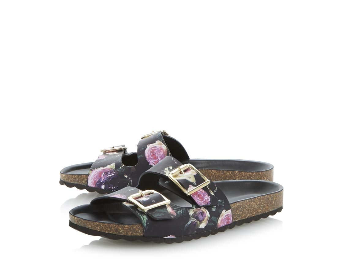 78c843445c6b5e Dune  floral print twin strap footbed sandals