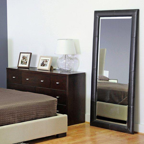 Egeus Leather Frame Floor Mirror - Dark Brown - Bed Bath & Beyond ...