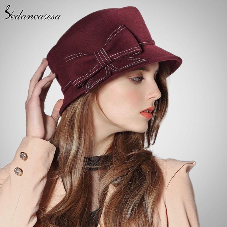 a61383aaf0033 Europe American Sombreros Women 100% Australian Wool Cloche Fedora Hats for Women  Winter Autumn Derby Hat Like if you remember  shop  beauty  Woman s ...