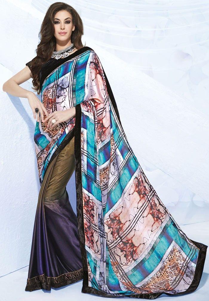 2fc3f70e2c50e0 Multicolor Satin #Digital-Print #Saree with Blouse | Digital Print ...