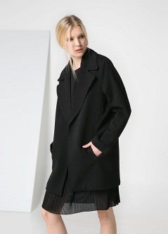 Wide lapel coat - Coats Curve sizes | VIOLETA BY MANGO