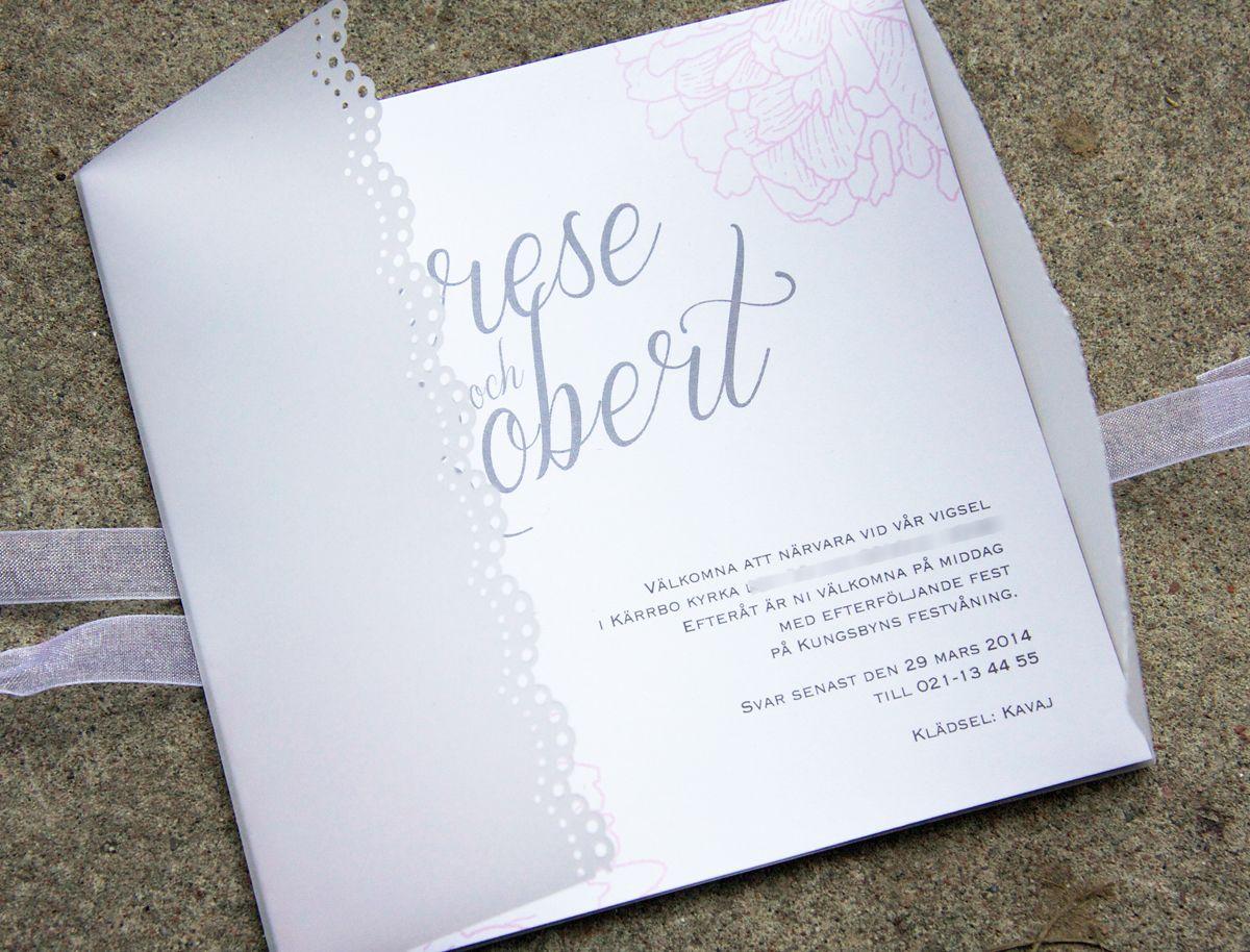 inbjudningskort bröllop spets