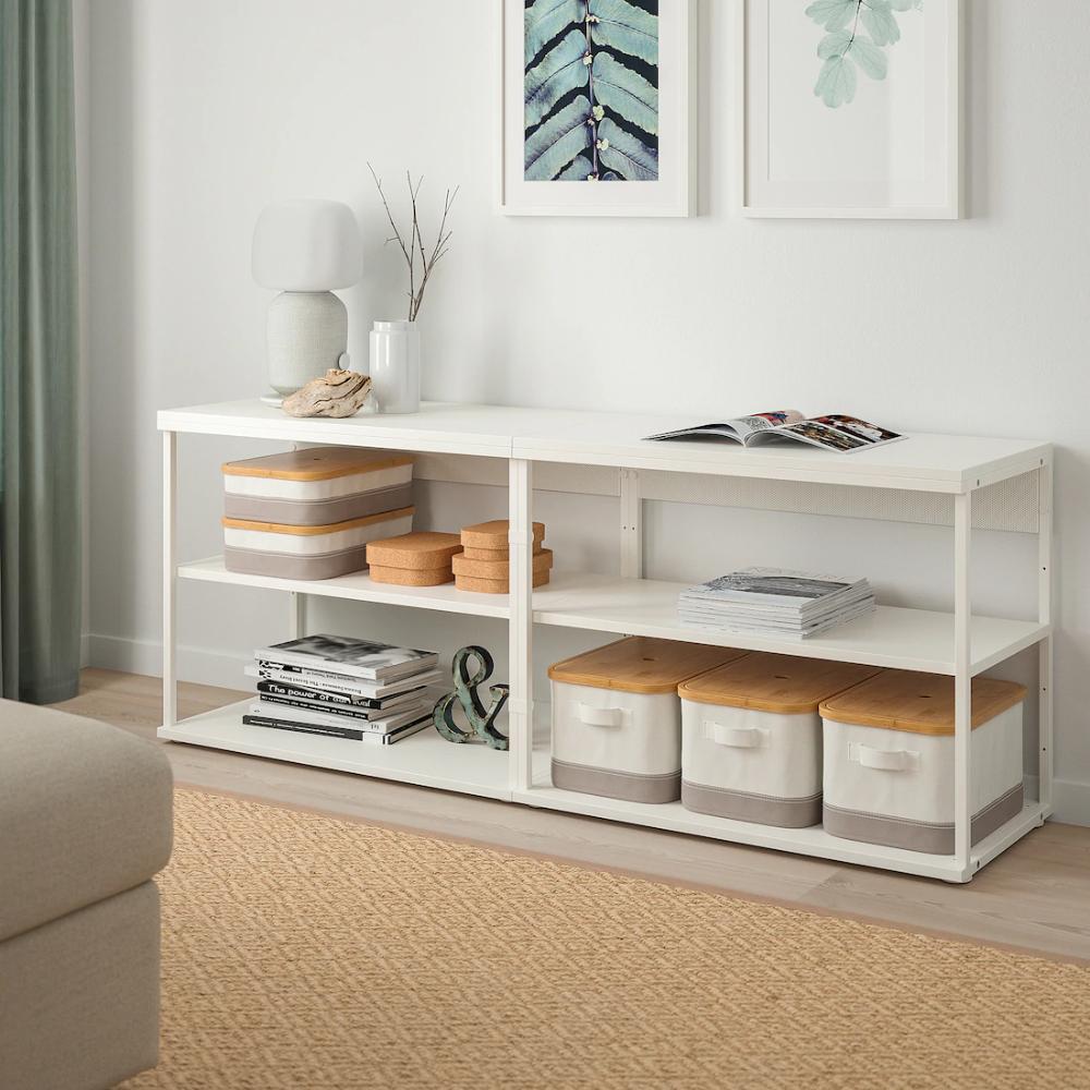 Platsa Etagere Blanc 160x40x63 Cm Ikea En 2020 Solutions De Rangement Rayonnage Etageres Ouvertes