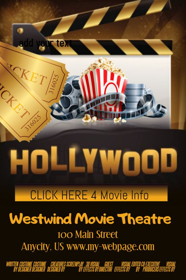 Movie Theater Poster Template Click To Customize Poster Template Brochure Design Template Flyer