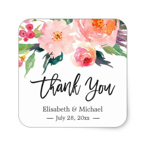 Modern Watercolor Fl Thank You Wedding Favor Square Sticker