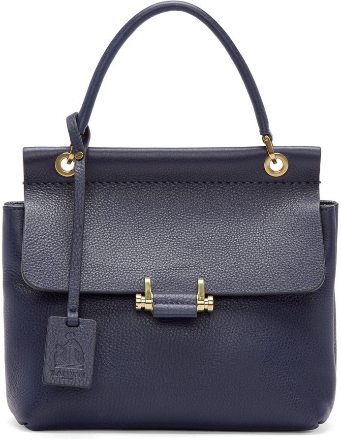 Lanvin Navy Mini Essential Bag. $1,012 #handbags #designerhandbags #purse #clutch #designerbags