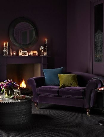 aubergine sofa and walls loft purple sofa home decor purple walls rh pinterest com