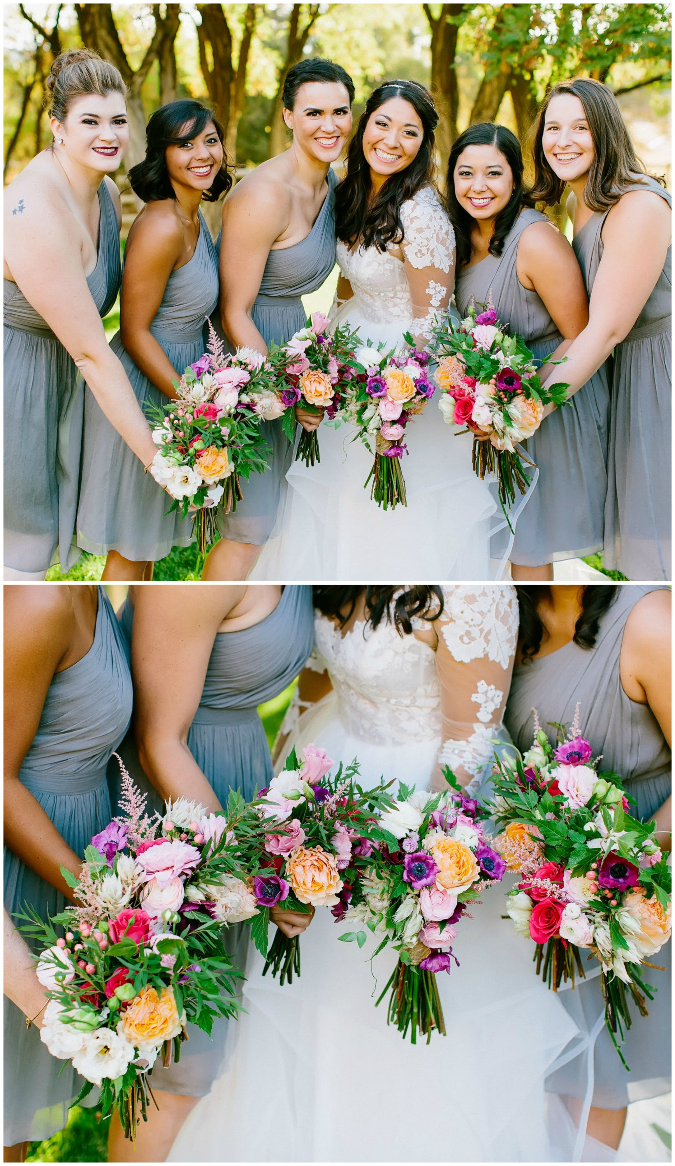 Rustic summer wedding at quiet meadow farm mapleton ut mid bridal party mid length one shoulder grey bridesmaid dresses colorful floral wedding bouquets ombrellifo Images