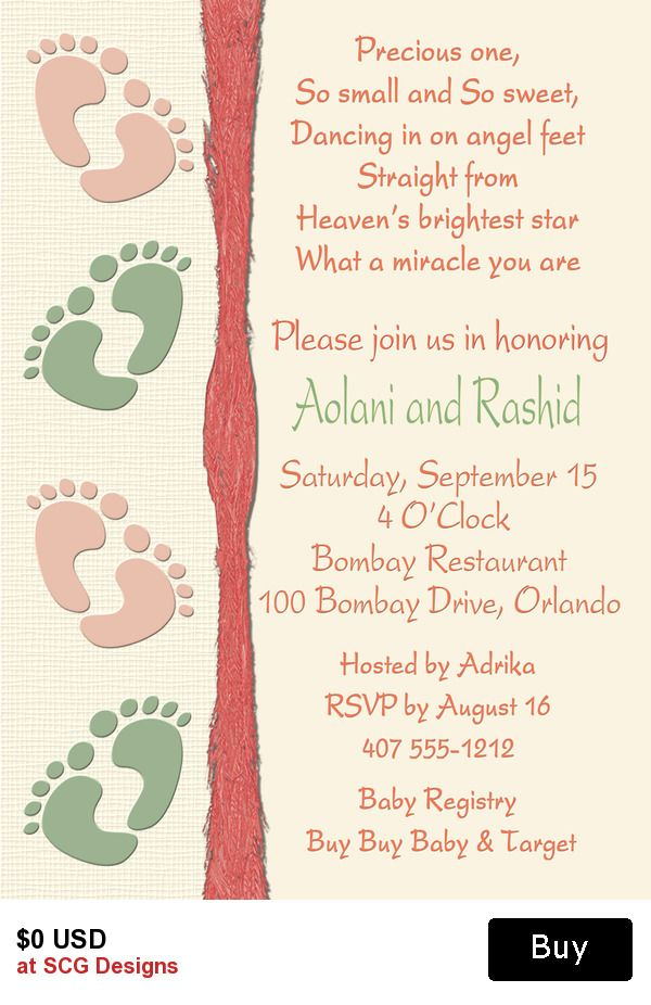 baby feet couples baby shower invitation1 sided